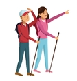 young couple hiking with backpack walking sticks vector image