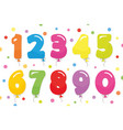 balloon coloder numbers set for birthday and vector image