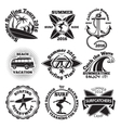 Set of vintage surfing labels with - surfboard vector image