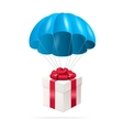 Blue Parachute with a gift box vector image