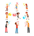 adults and children blowing soap bubbles set vector image vector image