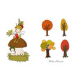 autumn set a forest fairy sits on a mushroom vector image