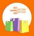 best shopping tour advertising banner with paper vector image vector image