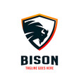 bison shield logo design template vector image