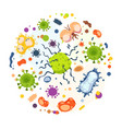 cartoon bacteria virus infection flu germs and vector image