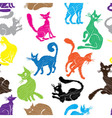 Cat seamless pattern background sketch collection vector image
