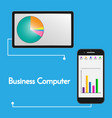 charts displayed on tablet and smart phone vector image vector image