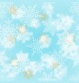 christmas white and gold snowflakes on blur blue vector image vector image