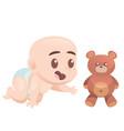 cute cartoon crawling baby boy on all fours
