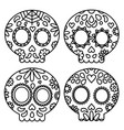 day of the dead set of skulls black outline for vector image vector image