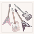 electric and bass guitars set cute guitars vector image