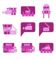 flat icons set cinema vector image