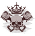 Graphic human skull with crown and crossed pistons
