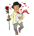 guy goes with a rose in his hand and reads the vector image vector image