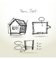 Hand drawn House plan sketch project for your vector image vector image