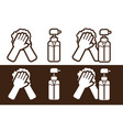 hand wash alcohol disinfection icon cartoon vector image