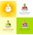Healthy organic food logo icon set with fresh vector image
