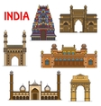 Indian travel landmarks thin line icon vector image vector image