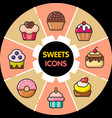 infographic food icons cupcakes vector image