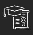 internship chalk white icon on black background vector image vector image