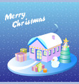 isometric christmas decorated houses with tree and vector image vector image