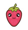 kawaii cartoon strawberry fruit vector image vector image