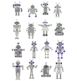 Large black and white set of toy robots or aliens vector image vector image