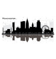 manchester city skyline silhouette with black vector image vector image
