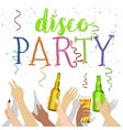 many hands raised up with disco party text vector image vector image