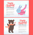 merry christmas and happy new year posters set vector image vector image