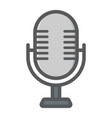 microphone colorful line icon studio sound vector image