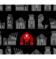 Monkey destroyer in town Angry Gorilla broke homes vector image vector image