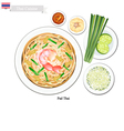 Pad Thai or Thai Stir Fried Noodles with Shrimps vector image vector image