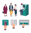 people queue near atm operations insert credit vector image