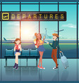 people with departures tag at airport flat design vector image