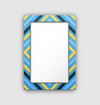 photo frame with blue border and abstract figures vector image