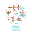 pool party doodle characters people swimming vector image