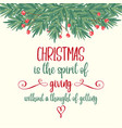 retro christmas card with tree branches and wishes vector image vector image