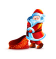 santa claus shy flirtatious and bag without gift vector image vector image