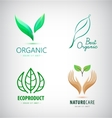 set green leaf logos eco organic vector image
