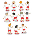 Set of boys playing vector image vector image