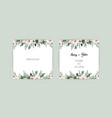 set of card with flower rose leaves wedding vector image
