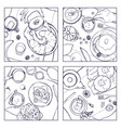 set of different breakfast top view square vector image