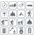 set of hiking icons isolated vector image