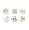 set of linear labels for handmade crafts vector image