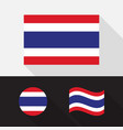 set thailand flag flat design vector image