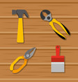 set tools construction equipment on wooden vector image