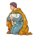 shepherd with a lamb a biblical story vector image