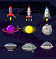 space cartoon icons set planets rockets ufo vector image vector image