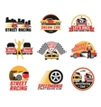 Street Racing Logo Emblems Icons Set vector image vector image